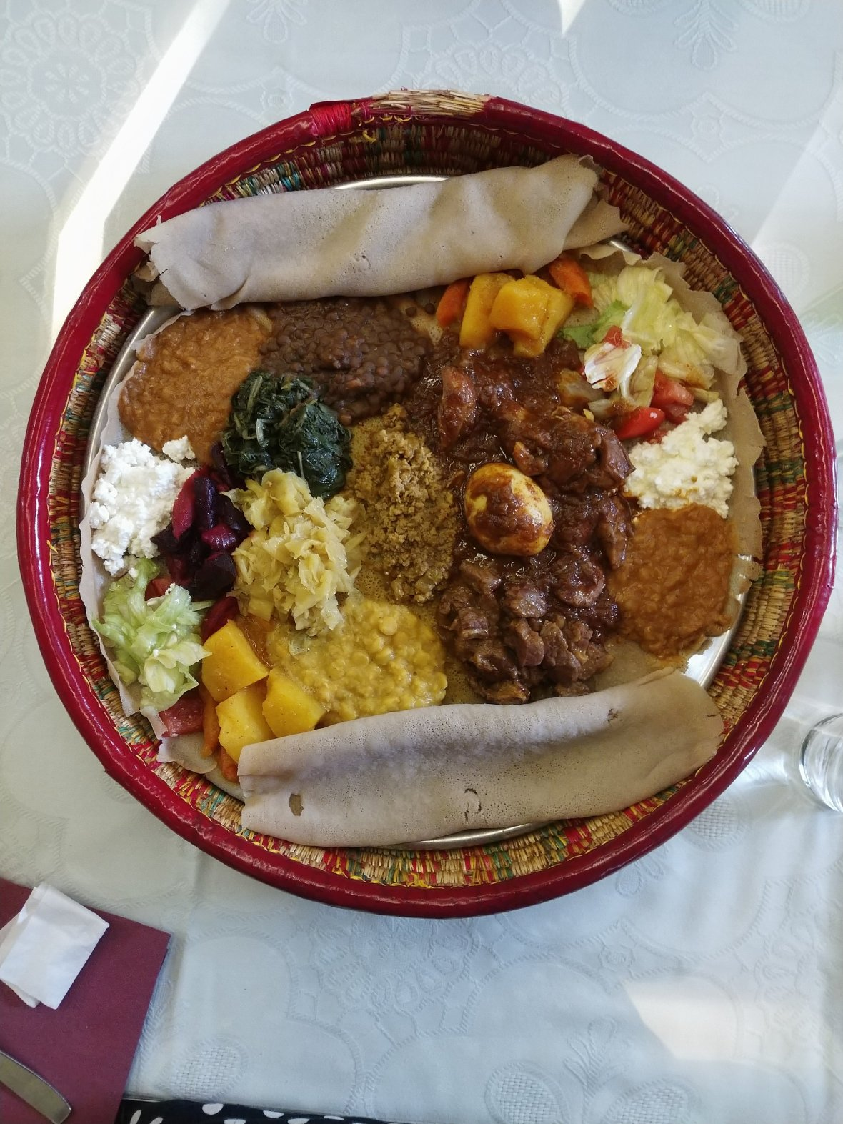 Injera bread and Ethiopian dishes