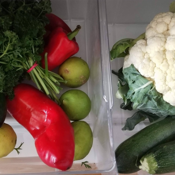 Cauliflower, zucchini, bell peppers, parsley, cauliflowers and lemons from the local farmer's market in my neighborhood in Prague 6, Czech Republic
